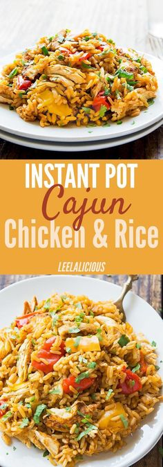 This One Pot Cajun Chicken and Rice is a super easy and quick way to prepare a full Instant Pot chicken recipe with rice and veggies. Perfect for weeknights and leftovers make amazing lunches. Pressure Cooking | Dinner | One Pot Meal | Gluten Free | Clean Eating