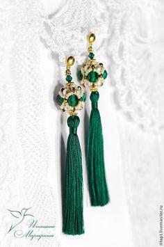 Купить Длинные серьги из бисера с кистями, серьги из бусин, вечерние серьги - зеленый, серьги