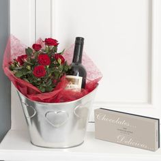 Red Wine Gift Set, with a mini red rose bush to plant!