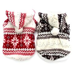 Pet dog Christmas Sweater Hoody pet puppy Coat Jacket clothes Snow-Flakes design #none