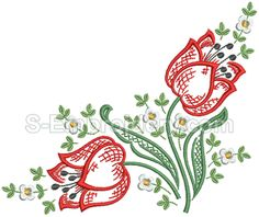 SKU 10542 Tulips machine embroidery set