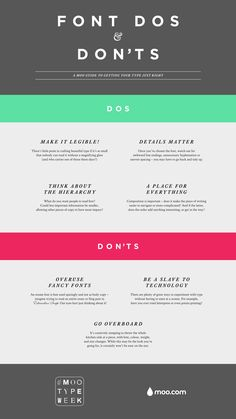 Font Dos & Don'ts - great for websites, business cards, and printed marketing materials. I find artists typically struggle with the fancy fonts and going overboard.