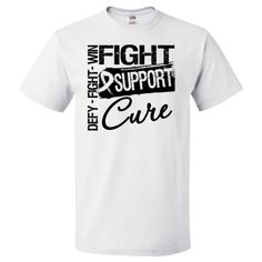 "Lung Cancer Fight Support Cure T-Shirt featuring the words ""Fight, Defy and Win""  #LungCancer #LungCancerAwareness #CureLungCancer"