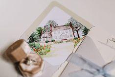 Torn Edge, Blue Crest Wedding Invitations, venue painting, watercolor