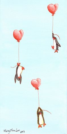 painting 3 penguins rising with balloons by orangefloatinghearts, $100.00
