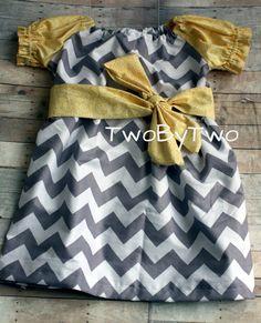 Gray and Yellow Chevron Peasant Dress 12M