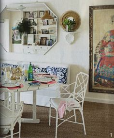 Beach house ideas: A Coventry bench from Ballard Designs and vintage Brown Jordan chairs are nestled around a painted teak table in the dining area. Decor, House, Interior, Teak Table, Bamboo Chair, Chippendale Chairs, Chinoiserie Chic, Home Decor, Room
