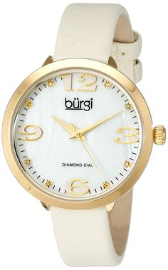 Burgi Women's BUR119YG Quartz Movement Watch with White/White Mother of Pearl Dial and White/Cream Leather Bracelet