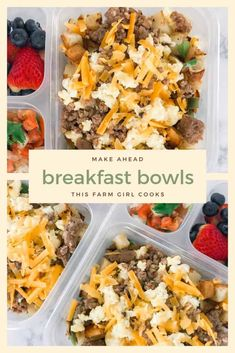 A make-Ahead Breakfast Bowl bursting with eggs, cheese, pork sausages, and potatoes to jump start your day. Make a batch as part of your weekly meal prep or as a grab and heat freezer cooking option. Healthy Meal Prep, Healthy Snacks, Healthy Recipes, Weekly Meal Prep, Meal Prep Recipes, Freezer Recipes, Meal Prep Bowls, Easy Meal Prep, Freezer Meals