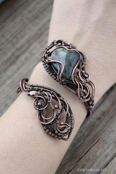 Labradorite bracelet Copper Bracelet natural by LenaSinelnikArt