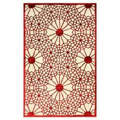 Wool and viscose rug with a medallion trellis motif. Hand-tufted in India.  Product: RugConstruction Material: Wool and art silkColor: RedFeatures:  Made in IndiaHand-tufted