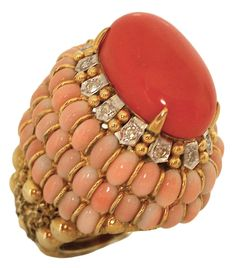 18k Gold, Coral and Diamond Ring, c1960