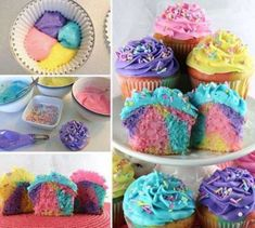 These Celebration Marble Cupcakes are the perfect treat for any celebration. Whether it be Easter, a birthday, or just a random Wednesday night. Cupcakes Arc-en-ciel, Marble Cupcakes, Sprinkle Cupcakes, Rainbow Cupcakes, Easter Cupcakes, Cupcake Cakes, Colored Cupcakes, Cup Cakes, Blueberry Cupcakes