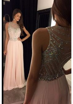 Elegant Long Light Pink Chiffon Prom Dresses with Beading Bodice,Evening Dresses(ED0875)
