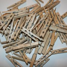65 Vintage Newer Spring Clothespins by dabblinginthedew on Etsy, $10.00