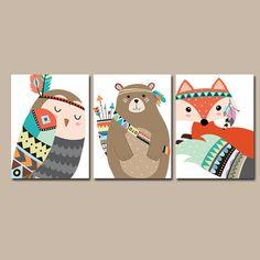 TRIBAL Animals Wall Art CANVAS or Prints Woodland Nursery