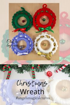 #christmas #christmasdecor #christmasgifts #christmasornaments #christmaswreaths #crochet @angelsmagicalcraftsx Large Christmas Wreath, Crochet Christmas Wreath, Christmas Baubles, Christmas Tree Decorations, Crochet Gifts, Hand Crochet, Etsy Handmade, Handmade Art, Craft Items