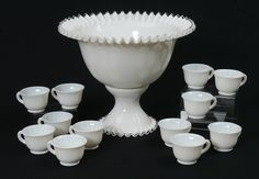 Lot:FENTON SILVER CREST PUNCH BOWL, STAND & CUPS, Lot Number:1328, Starting Bid:$100, Auctioneer:Burchard Galleries Inc, Auction:FENTON SILVER CREST PUNCH BOWL, STAND & CUPS, Date:07:00 AM PT - Mar 23rd, 2014 Antique Glassware, Fenton Glass, Glass Collection, Milk Glass, Punch Bowls, Vintage Antiques, Glass Art, Dishes, Vintage Stuff