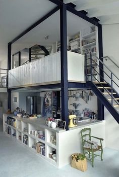 Great design for urban loft, rural retreat or small home. Kitchen area with loft above. Plenty of storage or make it a breakfast bar. - BandB in De Aap, The Netherlands. Bunk Bed Rooms, Bunk Beds, Lofted Bedroom, Bedrooms, Small Living, Living Spaces, Casa Loft, Interior And Exterior, Interior Design