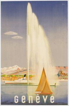 Vintage Travel Poster: Geneva, Switzerland