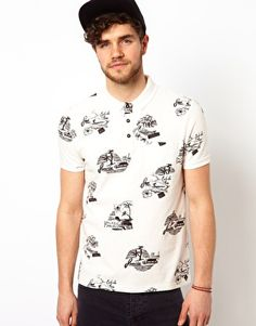 ASOS Polo With Surf Scene Print