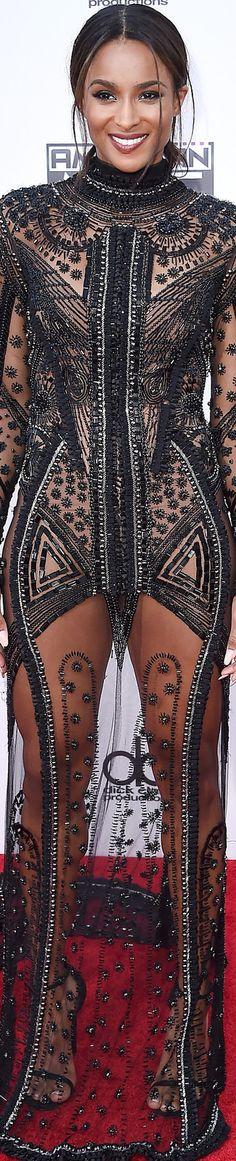 Ciara in Reem Acra 2015 American Music Awards Red Carpet