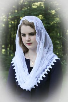 Evintage Veils~ Our Lady of Perpetual Help Pure White Traditional Catholic Lovely Vintage Inspired NEW Mantilla Chapel Veil  Infinity Veil