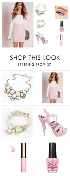 """Dressy"" by fab-life-939 ❤ liked on Polyvore featuring Yves Saint Laurent, Clarins and OPI"