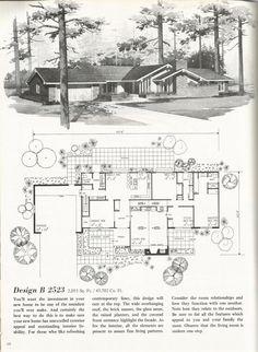 Vintage House Plans, 2000 square feet, mid century homes
