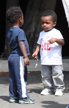 "sandra bullock's son, louis wearing our ""When I Grow Up I Want to Be Me"" StoryTee."