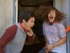 gif workaholics adam devine blake anderson animated gifs Acid-Proof Shock Collar The Business Trip Justin Kirk, James And Dave Franco, Anders Holm, Blake Anderson, Adam Devine, Zack Morris, Lets Get Weird, Aaron Taylor Johnson, Shock Collar