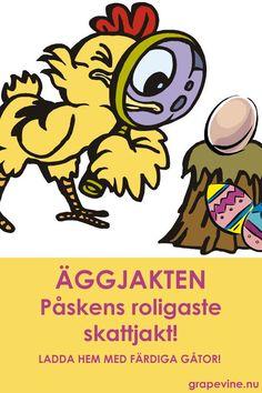 Låt barnen bege sig ut på ett roligt påskäventyr efter påskägget. Hönan Agda behöver barnens hjälp att hitta äggen som hennes busiga kycklingar gömt. Ladda hem färdig skattjakt! Finns för 4-6 år och för 7-10 år.   #påsk #skattjakt #äggjakt #ägglekar #påsklek #påsklov #barn #festlekar