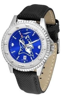 """Duke Blue Devils NCAA Anochrome """"Competitor"""" Mens Watch (Poly/Leather Band) by SunTime. $78.95. Color Coordinated. Calendar Date Function. Rotating Bezel. Showcase The Hottest Design In Watches Today! A Functional Rotating Bezel Is Color Coordinated To Highlight Your Favorite Team Logo. A Durable, Long Lasting Combination Nylon/Leather Strap, Together With A Calendar Date, Round Out This Best Selling Timepiece. The Anochrome dial option increases the visual imp..."""