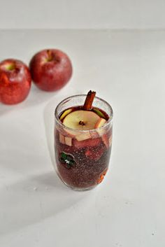 Spiced Apple Sangria filled with apples, spices, red wine, and citrus juices from Hezzi-D's Books and Cooks