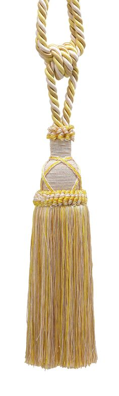 "Beautiful Ivory, Yellow Gold Curtain & Drapery Tassel Tieback / 10"" tassel, 30 1/2"" Spread (embrace), 3/8"" Cord, Imperial II Collection Style# TBIC-1 Color: WINTER SUN - 4874"