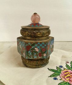 Perfect for holding cotton balls or q-tips.  ANTIQUE CLOISONNE TOBACCO OPIUM CANISTER. $65.00.  #smokingcollectibles www.etsy.com/listing/193377714
