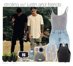 """""""strolling w/ justin and friends"""" by your-fucking-whore-styles ❤ liked on Polyvore featuring Justin Bieber, River Island, maurices, Mansur Gavriel, Maison Margiela, Ray-Ban and Authentics"""