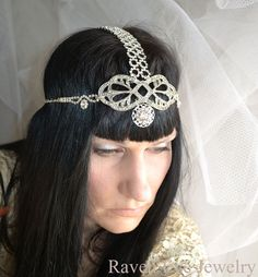 Damselfly Rhinestone and Chain Head Piece by ravenevejewelry, $189.00