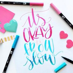 It really is okay. Did you just start lettering? My best advice is to not fall into the comparison trap. We all grow at our own pace. We are all at different spots in our process. Getting better at something takes time. And sometimes it takes lots of time. And that's OKAY. Enjoy your journey. Practice. Learn. Take it all in. Flowers don't bloom overnight do they? 😚👍🏻 #handlettering #tombowusa #tombowpro @amandakammarada