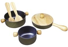 Our Green House has a huge selection of play kitchen accessories, from play food to toy pots and pans! This cooking utensil set from Plan Toys includes pot, frying pan and saucepan, as well as 2 wooden utensils - everything a little chef needs to cook! Kitchen Pans, Play Kitchen Sets, Play Kitchens, Kitchen Utensils, Casseroles, Play Kitchen Accessories, Wooden Ladle, Pretend Play Kitchen, Pretend Food