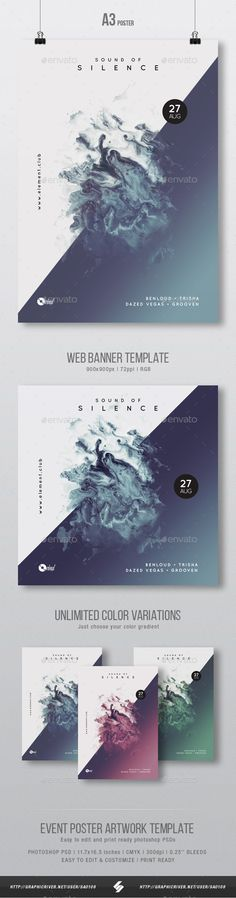 Sound Of Silence - Minimal Party Flyer / Poster Artwork Template A3