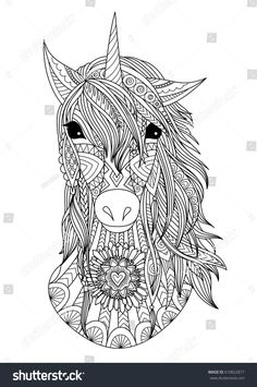 Zendoodle stylized unicorn head for t shirt, print design and adult coloring book page. Stock Vector