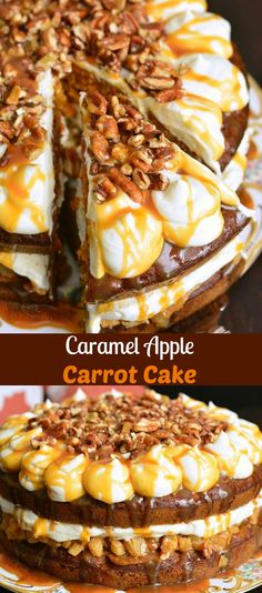 This carrot cake is soft and moist, filled with caramel apples in the cake and in the filling. It's frosted with cream cheese frosting and topped with crushed pecans and more caramel. Cupcakes, Cupcake Cakes, Round Cake Pans, Round Cakes, Chocolate Oreo Cake, Cake Recipes, Dessert Recipes, Caramel Apples, Apple Caramel