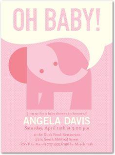 Baby shower invitation, Dotted Elephant: Blushing