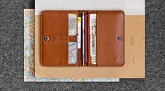 Compact leather document holder / passport holder from natural leather // SENTRY // Brown-SR