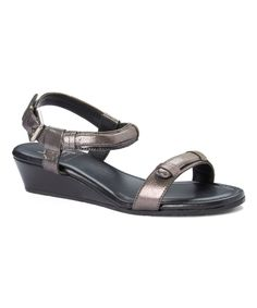 Black Micaela Leather Wedge Sandal