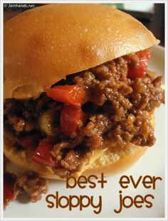 Slow Cooker - Sloppy Joes: Like the hot dog the Sloppy Joe is open to all kinds of variations and toppings. This slow cooker - sloppy joes recipe is not Slow Cooker Sloppy Joes, Sloppy Joes Recipe, Sloppy Joe Recipe No Ketchup, Meat Recipes, Cooker Recipes, Crockpot Recipes, Dinner Recipes, Dinner Ideas, Kitchen