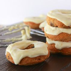 Baked Carrot Cake Donuts with Orange Cream Cheese Glaze is the flavor of carrot cake without all the calories!