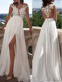 A-Line Chiffon Short Sleeves Scoop Sweep/Brush Train Ivory Prom Dresses - Wedding Dresses - VeroElla Ivory Prom Dresses, Long Sequin Dress, Wedding Dress Train, Chiffon Dress Long, Wedding Dress Chiffon, Princess Wedding Dresses, Perfect Wedding Dress, Cheap Wedding Dress, Bridesmaid Dresses