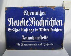Vintage German Enamel advertising metal sign, German newspaper 1920s-1930s white lettering on dark blue enamel Neueste Nachrichten Frankfurt by EbyVintage on Etsy